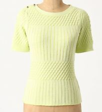 Monogram Cabled Sweater Tee Top Size Large Yellow NW ANTHROPOLOGIE Tag