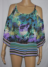 Sunny Leigh Womens Abstract Striped Lined Cutout Shoulder Lined Top Blouse **