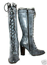 WOMENS Knee high kinky lace Leather boots GREY