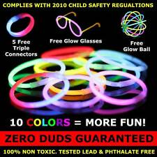 "500 Premium 8"" Glow Stick Bracelets (with bonus connectors, glow glasses, balls)"