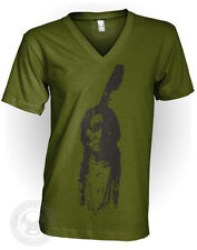 SITTING BULL Vintage Indian Chief Native American Apparel 2456 V Neck T Shirt