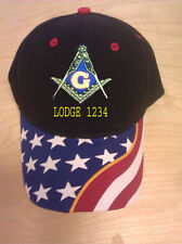 MASON MASONIC  EMBROIDERED MONOGRAM BALL CAP WITH STARS AND WITH LODGE NUMBER