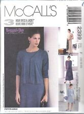 UNCUT McCalls Sewing Pattern Misses Unlined Jacket Dress Woman's Day 2399 OOP FF