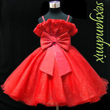UKMD67 Red Holiday Christmas Easter Pageant Party Baby Girl Dress 1 to 14 Yrs