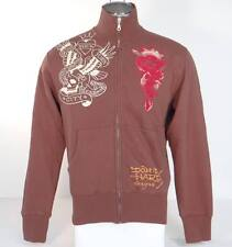 Ed Hardy New York City Tattoo Graphics Brown Zip Front Track Sweat Jacket Men's
