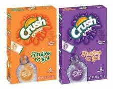 4 Boxes CRUSH SINGLES TO GO Drink Mix for Bottled Water Orange Grape 24 Packets