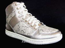 New Coach Signature Women NORRA Silver Leather Boots Sneakers Shoes Multi Size
