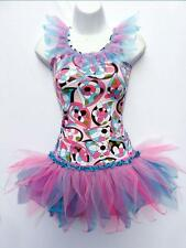 GIRLS 2 PCE DANCE TUTU STAGE PARTY COSTUME RETRO PRINT FREESTYLE DISCO OUTFIT