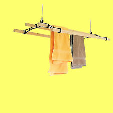 4 Lath Victorian Kitchen Ceiling Pulley Clothes Airer Maid Laundry Dryer Rack