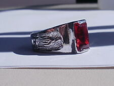 14K White Gold ep Red Cz Our Lady of Guadalupe ring lifetime guarantee choice