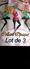 LOT DE 3 COLLANTS OPAQUE NOIR .  0307.   3 tailles.