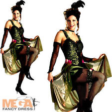 Deluxe Saloon Girl Ladies Fancy Dress Western Can Can Costume Outfit UK 8-18