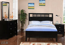 NEW 4PC MENNO CONTEMPORARY BLACK FINISH WOOD TWIN OR FULL SIZE BEDROOM SET