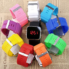 Fashion 10 Candy Color Choice Mirror Face LED Men Lady Sport Watch + Gift Box EE