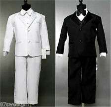 5PC SET BOY WHITE BLACK TUXEDO - CHILDREN FORMAL CHRISTENING PARTY SUIT ALL SIZE