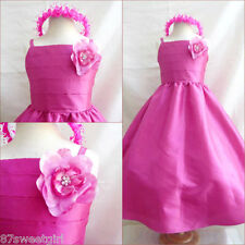 New SP7 HOT PINK / fuchsia Pageant Flower Girl  dress size 18m 2 4 6 8 10 12 14