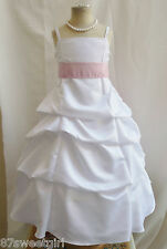 SPU WHITE PINK BRIDESMAID WEDDING PARTY RECITAL GOWN PAGEANT FLOWER GIRL DRESS