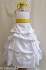 SPU WHITE BRIGHT YELLOW WEDDING PARTY RECITAL GOWN PAGEANT FLOWER GIRL DRESS