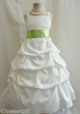 SPU IVORY APPLE GREEN WEDDING PARTY PRINCESS GOWN PAGEANT FLOWER GIRL DRESS