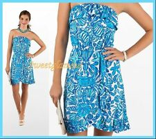 $148 Lilly Pulitzer Flor Shorely Blue Sailors Valentine Ruffle Strapless Dress