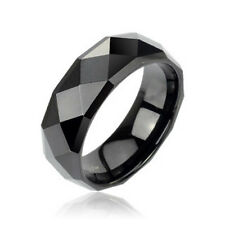 Black IP Tungsten Carbide Faceted Ring Wedding Band Fashion Jewelry Men or Women