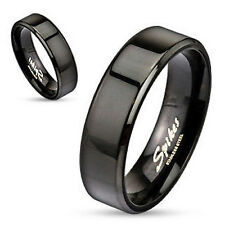Black IP Over Stainless Steel Beveled Edge Flat Wedding / Commitment / Band Ring