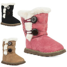 71J NEW GIRLS TODDLERS FAUX LEATHER FUR QUILTED FLEECED WINTER BOOTS SIZE 21-25