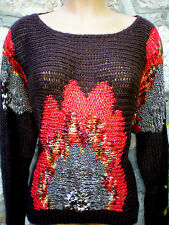PULL FEMME LAINE  CHOCOLAT/ROUGE.  S&W FASHION.   taille XXL.