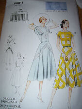 VOGUE #V8811 - LADIES RETRO 1940 - LADIES PULLOVER DRESS & BELT PATTERN  4-18 uc