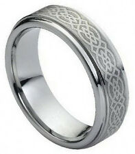 7mm Tungsten Men Women Wedding Band Ring Laser Engraved Celtic Knot Pattern New