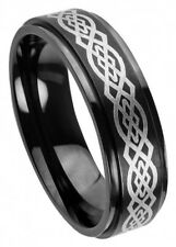 7mm Tungsten Men Women Wedding Band Ring High Polish Laser Engraved Celtic Knot