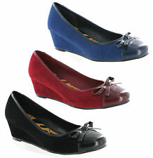 New Womens Small Wedge Patent Toe Slip On Ballerina Style Court Shoes Size 3-8