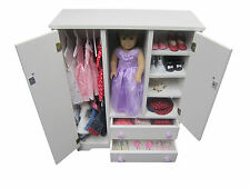 "Doll Wardrobe  Armoire FITS 18"" DOLL Furniture  Storage Closet  Solid Wood"