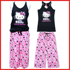 Hello kitty PJ Black Tank Top Pink Capri Pants Set