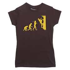 EVOLUTION of a ROCK CLIMBER T-shirt climbing mountain belay SIZE S-XXL LADIES