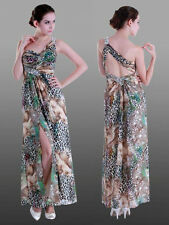 One Shoulder Formal Evening Cocktail Dress Gown Leopard Animal Print Beaded New