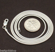 1.5mm Solid Snake Chain Necklace with Lobster Clasp Real 925 Sterling Silver