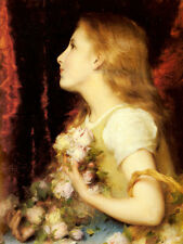 Photo/Poster - Piot Young Girl With A Basket Of Flowers - Etienne Adolphe Piot 1
