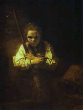 Art Print - Girl With Broom - Rembrandt 1606 1669