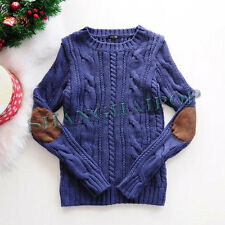 Women Elbow Patch Braid Sweater Cable Knit Chunky Jumper Long Sleeve Fisherman