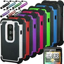 Pen+Rugged Rubber Matte Hybrid Hard Case Cover For HTC EVO 3D Sprint + Protector