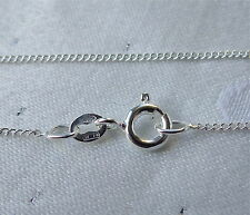 "FINE LIGHT CURB CHAIN NECKLACE 16"" & 18"" 925 STIRLING SILVER"