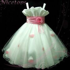 P818 NWT Pink White Fairytale Party Dress up Flower Girls Dress SIZE 2,4,6,8,10Y