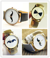 Fashion Moustache Bowknot Round Design Leather Strap Watch Wristbands Gift