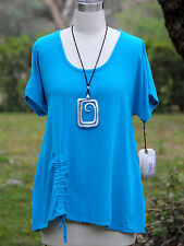 OH MY GAUZE Cotton Ruched  ANA A-Line Top  1 (S/M) 2 (L/XL) 3 (1X/2X)  TURQUOISE