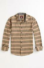 Quiksilver Badlands Woven Flannel Gold Stripe Long Sleeve Button Up Shirt NWT