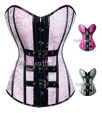Sexy Pink Floral Corset Bustier Black PVC Buckles Clubwear Size S-2XL GL-A2715