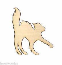 Skittish Cat Unfinished Flat Wood Shape Cut Outs SC5316 Variety Sizes Crafts