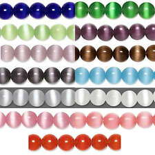 "Grade A Fiber Optic Glass Cat's Eye Round Beads 16"" Strand Many Sizes & Colors"