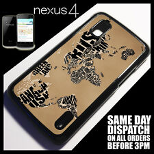 Cover for Google Nexus 4 LG E960 Patterns World Map Vintage Retro Case }5086